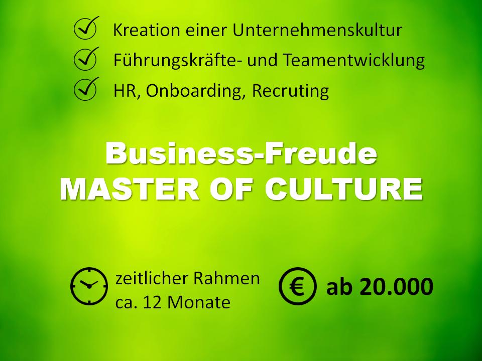 Produktpaket MASTER OF CULTURE. Kreation einer Unternehmenskultur, die Visin, Mission und Werte des Unternehmens enthält. Beinhaltet Führungskräfte- und Teamentwicklung, HR, Onboarding und Recruting, Seminare und Workshops. Bietet professionelle Begleitung für die Dauer eines Jahres zum Paketpreis von 20.000€.