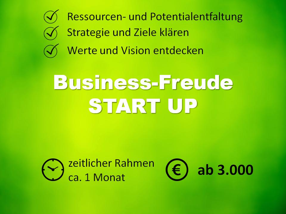 Business Paket START UP, für Solopreneurs, Selbstständige und Freiberufler, JungunternehmerInnen und BestandsunternehmerInnen. Der Startschuss ins Herzensbusiness. Themen sind Ressourcen- und Potentialentfaltung, Strategien und Ziele klären, Werte und Vision entdecken. Professionelle Begleitung für ca. 1 Monat zu 3.000€. BAFA-Förderung möglich