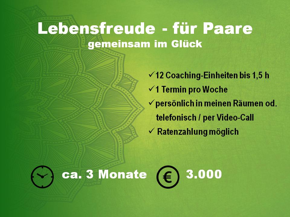 Coaching für Paare, Paarberatung, Paarcoaching, Dauer 3 Monate, 12 Einheiten bis 1,5 Stunden, Ratenzahlung möglich, Paketpreis 3.000€